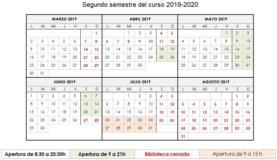 Calendario de apertura